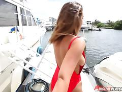 Ball Licking, Big Tits, Blowjob, Boat, Couple, Cowgirl