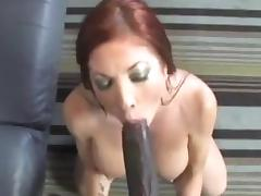 Redhead Milf interracial sucking fucking black cock