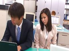 Japanese office beauty stroking and sucking her coworkers