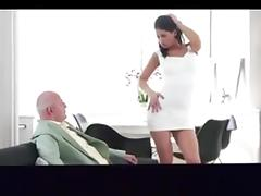 Hungry college girl sucks and fucks class grandpa