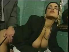 Busty Italian brunette cheats on husband fucking in bathroom