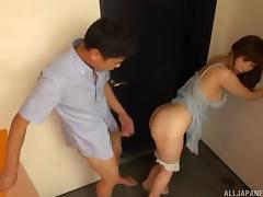 Tall naked Japanese chick with great titties gets laid