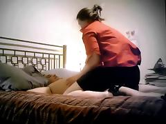 Chubby Amateur Housewife Rides Husband tied to Bed..!!!
