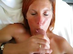 Cute Danish redhead at home sucking