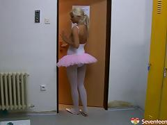 Lesbian ballerinas fuck with a dildo after a practice session