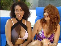 Lesbian pornstar orgy with a collection of big titty chicks