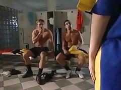 Girl takes on two guys in lockerroom.