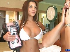 Fake tits bikini babe with a nice tan takes dick in her ass