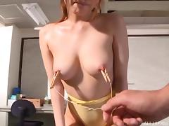 Sheer strapless yellow swimsuit modeled by a Japanese hottie