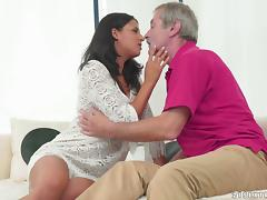 Old man with plenty of energy fucks a pretty girl in her wet pussy