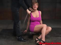 Restrained submissive bigtits tormented