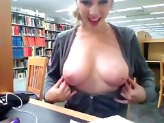 Library webcam show with her nice natural tits coming out