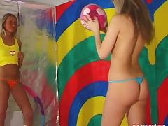 Beautiful nude coeds play a game of naked lesbian twister