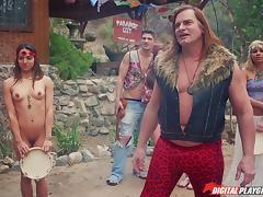 Hippie girl with a nice bush fucking a big cock guy