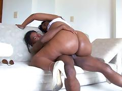 Sexy Santana goes totally naked to ride the cock with her meaty ass