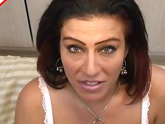 Gorgeous eyes and big boobs on a mature cocksucker