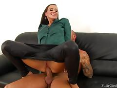Brunette bitch in leather pants and satin shirt gets fucked good