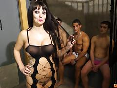 Gangbanged slut with fake tits takes all their cumshots