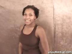 Black casting girl strips and sucks a dick in POV
