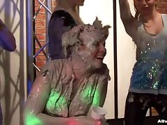 Raged babes get stupid in a muddy wrestling pool with the crowd going wild in cheers