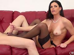 Flawless milf beauty in a lingerie set fucks the stud