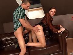 Elegant lady quickly kneels down to get rammed from the behind