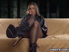 Leather Jacket Pantyhose FemDom