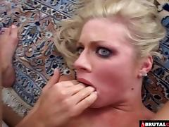Blonde with pretty blue eyes fucked in her asshole