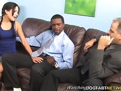 lina paige enjoys bbc terapie while her father watches