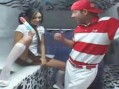The ice cream man gives her a Popsicle then feeds her his cock