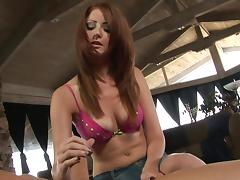 Handjob from a beautiful redhead in sexy eye shadow