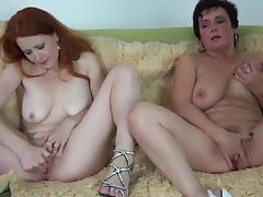 Hot Old granny and redhead teen masturbate pussy together