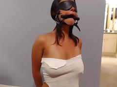 Mask, Amateur, BDSM, Blindfolded, Blowjob, Choking