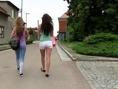 Two petite teens Morgan and Alexis going full-lesbian in the wild