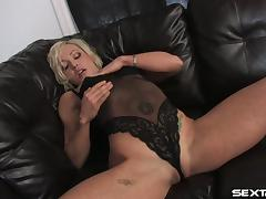 Amazing blonde with tats jerks off with a dildo close up solo shoot