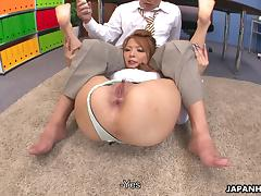Asian slut getting her pink slit toy fucked well