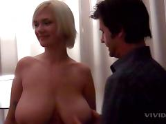 Massive all natural tits wrap around his dick for pleasure