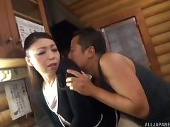 Sexy Heki Takashima performs the first cowgirl cock ride of her career
