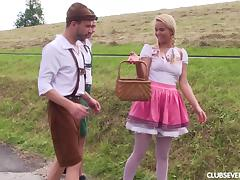 Pigtails blonde giving her guys blowjob the forest mmf seen