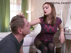 Skinny femdom babe punishes her man with a dose of face sitting
