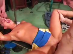 Cute Cheerleader Takes On Two Dicks