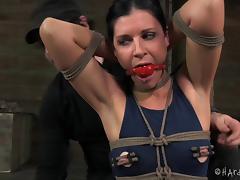 Curvy matured slaved damsel in bondage getting tortured in BDSM sex
