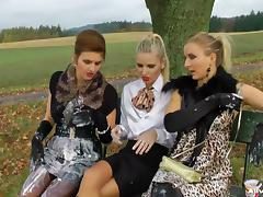 Messy Eurobabes going mad outdoor in sexy video shot.