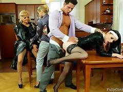 Salacious vixens gets their coochie pounded by the priest in a wild ffm threesome