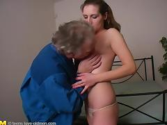 Natural tits cowgirl having her pussy fingered then banged missionary