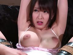 Arisa's hands are tied up and her pussy attacked with a vibrator