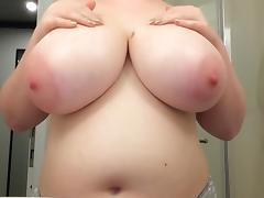 Rubbing Cream on Fat Tits