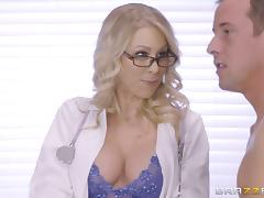 Flamboyant blonde doctor cures her patient by riding his thick cock