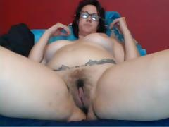 Thick nerdy milf with a sweet hairy pussy
