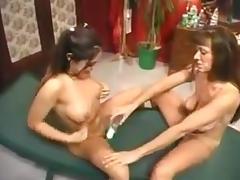 2 woman having pee fun